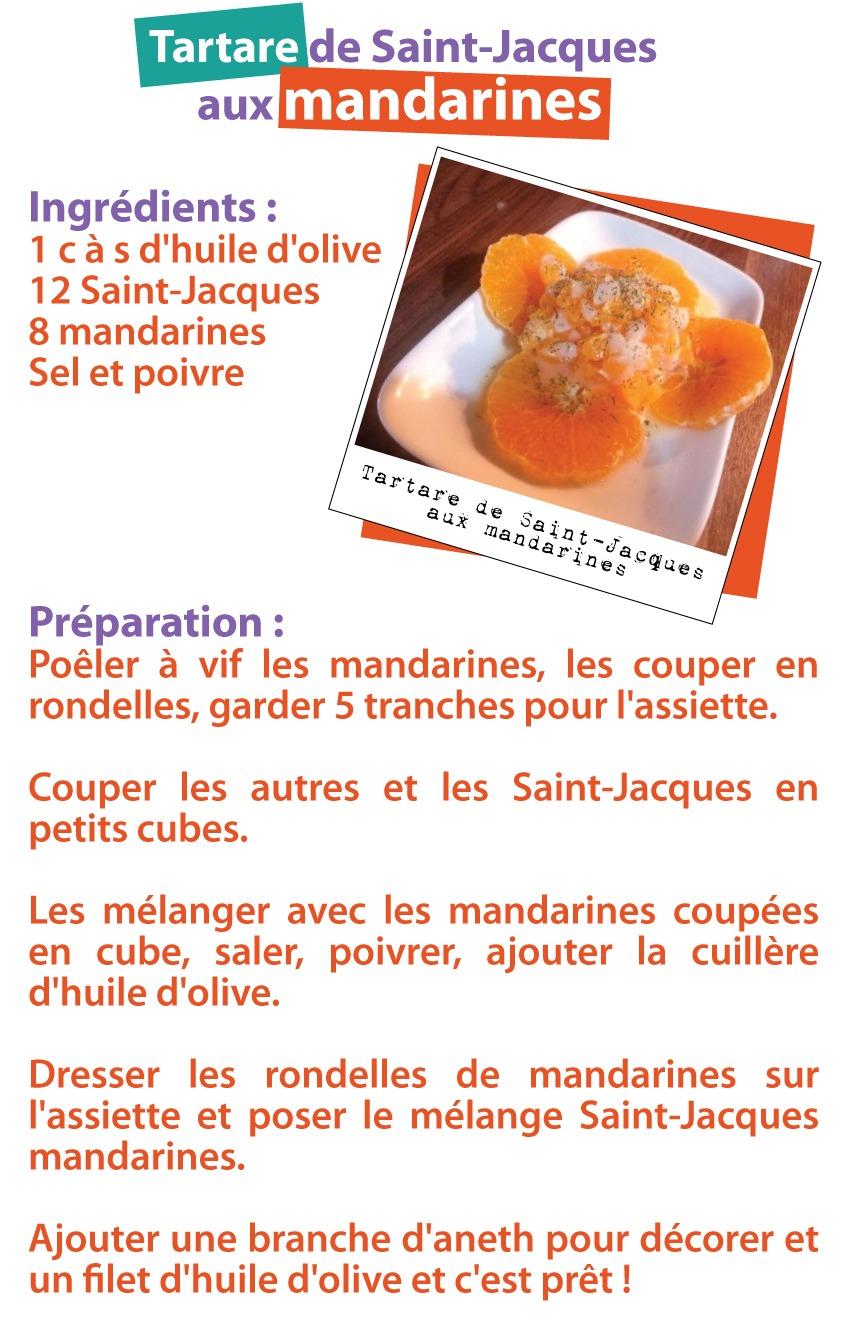 Recette d'une tartare de saint jacques à la mandarine