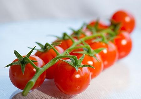 Photo d'une grappe de tomates cocktail