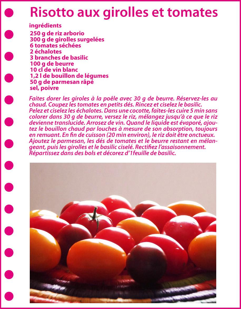 Recette : Risotto aux girolles et tomates